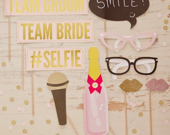 10 Piece Vintage Photo Props Vintage Blush and Gold, Team Bride, Team Groom, #Selfie, Sunglasses, Microphone and Lips