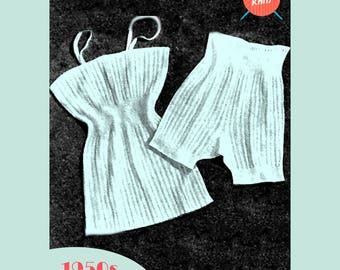 Vintage Underwear - PDF download vintage knitting pattern from the 1950s / 1960s