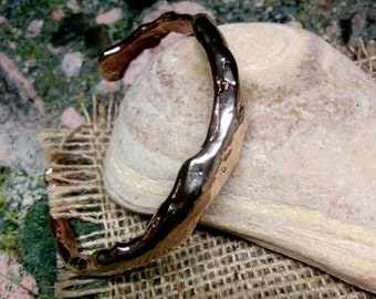 Heavy Silicon Bronze Cuff Bracelet. 10X 14 mm Irregular.  Molten Bronze.