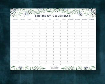 Birthday Calendar - Wall Planner - Perpetual - Instant Download
