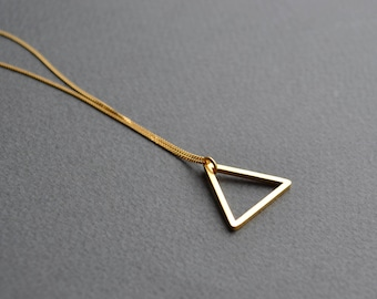 Gold Vermeil Triangle Necklace | Open Triangle Geometric Necklace | Triangle Pendant