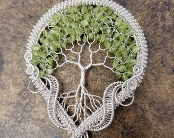 Happiness Tree Of Life Pendant, Wire Wrapped Artwear, Handcrafted with .935 Argentium Silver (Non-Tarnish & Hypoallergenic)