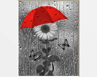 Black White Red Bathroom Powder Room Wall Pictures, Red Gray Decor, Sunflower Butterflies Umbrealla Raindrops Bath Matted Decor Picture
