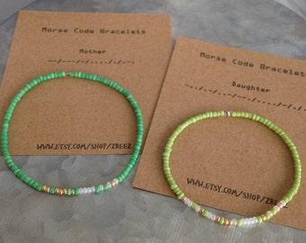 Mother Daughter Bracelet Set - Morse Code Stretchy Bead Bracelet - Mothers Day Gift, Pick your colors