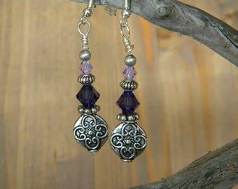 Amethyst, lavender & silver drop earrings