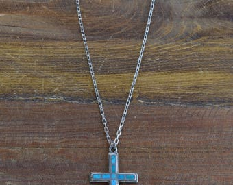 Sterling Silver Cross Necklace with Inlay Turquoise