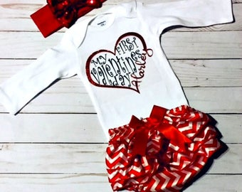 My First Valentines Day Outfit, Custom Valentines Day Onesie, Sparkle Onesie, Leg Warmers, Bow, Gift Idea, Baby Shower Gift Idea