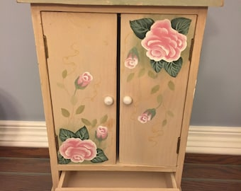 Hand-painted wooden jewelry box with drawer
