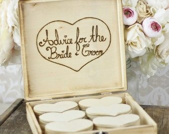 Wedding Guest Book Box Rustic Decor Guest Book Alternative Wood Hearts Bridal Shower Advice (140297)