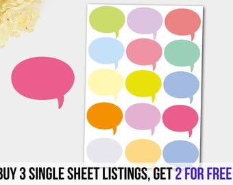Bubble Stickers, Speech Stickers, Conversation Stickers, Dialogue Sticker,  Erin Condren, Filofax