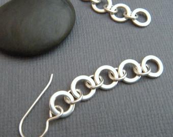 long silver earrings. sterling silver earrings. chain earrings. long dangle. chainmaille circle earrings. geometric earrings. tiered
