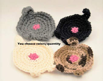 Crochet cat butt coasters, funny gag gift, animal coasters, cat coasters, cat lady, toilet humor, housewarming, kitty butt, crochet coasters