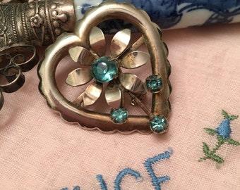 Brooch, Pin, Heart Brooch, Pin Brooch, Gifts Under 15, Flower Brooch, Flower Pin, Mixed Metal Heart & Flower Brooch, four blue rhinestones