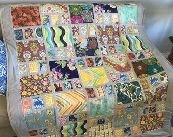READY TO SHIP Patchwork quilt, hand made, Classic quilt , twin size ,cotton blanket , 68 x 55 inch