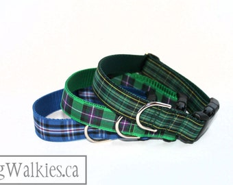 """Celtic Tartan Dog Collar - FC Plaid Dog Collar - 1"""" wide (25mm) - Quick Release or Martingale - Choice of collar style and size"""