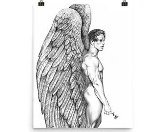 Gay Male Angel with Rose~Fine Art Print by Artist D Rosendahl