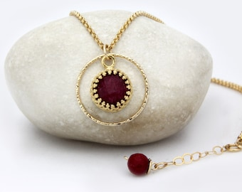 MOTHER'S DAY SALE - Ruby necklace,July birthstone necklace,gold necklace,ring necklace,gemstone necklace,Ruby pendant necklace