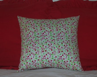 Christmas Candy Canes & Gum Drops Pillow Cover