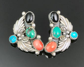 Navajo Multi-stone Earrings Squash Blossom Sterling Silver Native American
