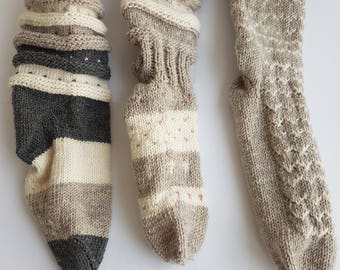 Hand Knit socks Wool knit socks Knitted wool socks
