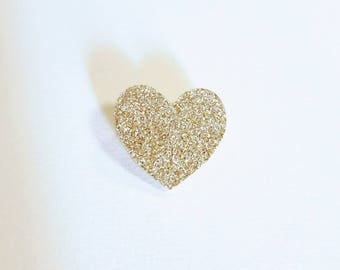 "Brooch ""little glittery gold heart"""