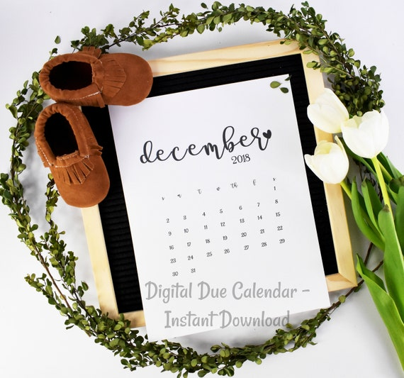 Pregnancy Announcement / Instant Download / Printable Calendar / Due Date Reveal / Baby Announcement / Pregnancy Reveal / Digital announcing