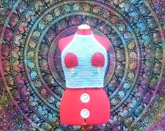 Crochet Popsicle Blue Rainbow Festival/Sun/Rave Crop Top