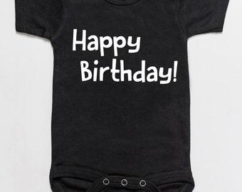 Happy Birthday baby bodysuit romper black