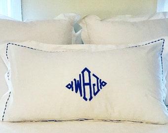 Monogram King Pillow Sham with Custom Embroidered Border / Monogram Bedding