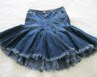 Denim gored fringed skirt size 1