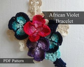 CROCHET PATTERN Crocheted African Violet Crocheted Bracelet Tutorial - Last Minute Gifts Series - Instant download, crochet jewelry