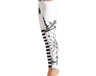 Dreamcatcher White Black Yoga LeggingsCapri Yoga Pants, Sport Stretch Leggings, Fitness Workout Yoga Pants Joggers Active,Solid Colors