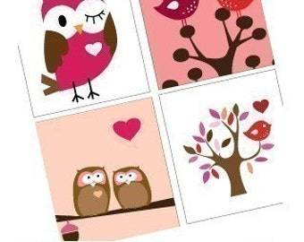 Cute Valentines Critters - Owls and Birds - One (1x1) Inch (25mm) Pendant Images - Buy 2 Get 1 Free - Instant Download - Printable Images