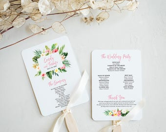 Wedding Fan Program Template Tropical, Wedding Program Printable, Wedding Ceremony Template, Program Fan Template, Instant Download, BL16