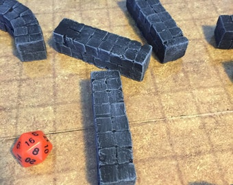 SIX Straight wall piece, painted, D&D Pathfinder Dungeon Gaming Fantasy TableTop Terrain Miniature Roleplaying RPG