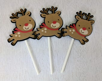 Rudolph Cupcake Toppers, Rudolph the Red Nosed Reindeer, Christmas Cupcake Toppers, Deer Cupcake Toppers, Christmas Decor