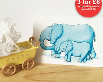 Elephant and baby - Greeting card for new baby, boy or girl, baby shower, expecting or birthday