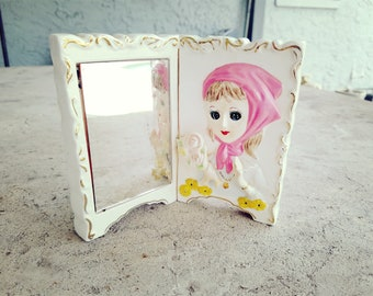 1950s Dream Mirror Vanity Collectable School Girl Bedside Rare Made in Japan Small Stand Girls Bedroom French Unique Gift Good Luck Plaque