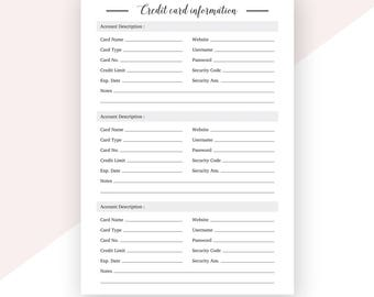 Credit Card Information | Bank Account Information | A5 Planner | Finance Planner | Financial Planner | Printable Planner Inserts