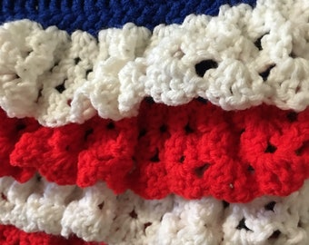 Crochet Red, White, and Blue Dress