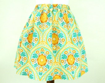 Yellow flower skirt, blue skirt, vintage style skirt, pockets, elasticated waist, custom, summer skirt, yellow skirt, meadow