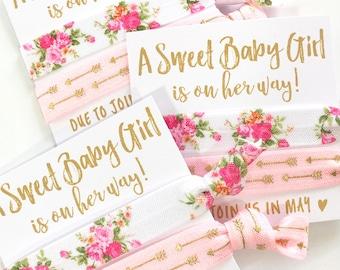 Baby Girl Shower Favors | It's A Girl | Custom Baby Shower Favors | Floral Theme Baby Shower | Hair Tie Favors | Oh Baby | Baby Girl Favors