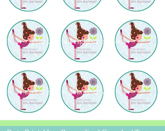 "Cupcake toppers Yoga Party PDF,personalized cupcakes' toppers, printable 2"" x 2"""