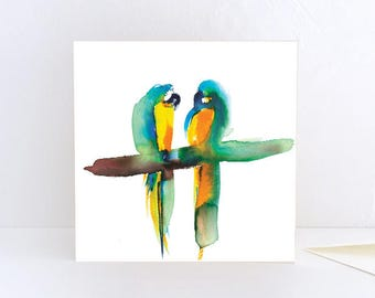 Oh Really? two parrots, two birds - Greeting Card
