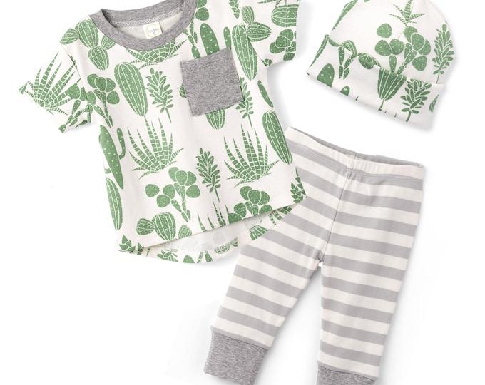 SALE! Baby Boy Cactus Outfit, Baby Boy Short Sleeve Outfit, Baby Boy Leggings, Newborn Boy Cactus Outfit, Cactus, Infant Boy, TesaBabe