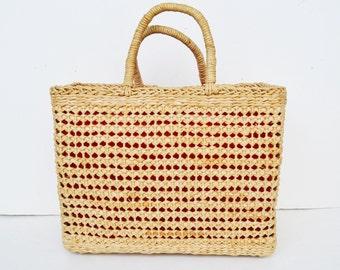 straw bag, straw handbag, straw handbag, straw tote, straw basket, seagrass basket,