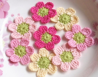 8 Crochet  Flowers inches YH - 179