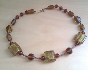 vintage amber glass bead necklace