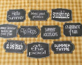 Summer Chalkboard Style Sticky Labels
