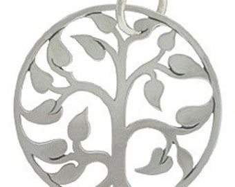 Tree of Life Charm Sterling Silver Plated 20mm Medium